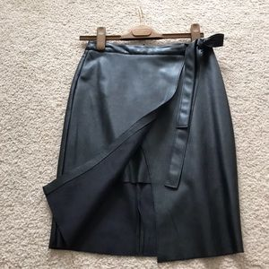Faux leather pencil skirt.